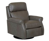 Rolled-Arm Pillow-Back Leather 360 Swivel-Recliner