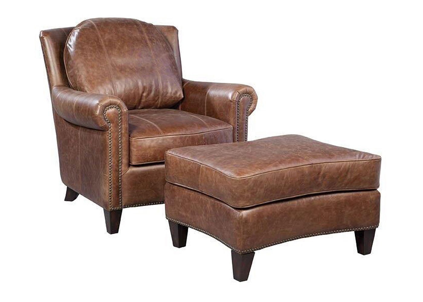 leather accent chairs massage chair with heat vintage brown nails club furniture