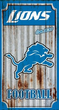 Detroit Lions Corrugated Metal Wall Art