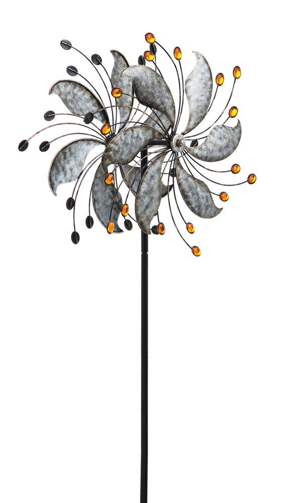 REFLECTIVE LEAVES Kinetic Garden Spinner by Evergreen
