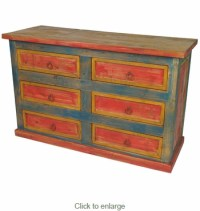 Multi-Color Six Drawer Dresser - Mexican Painted Wood