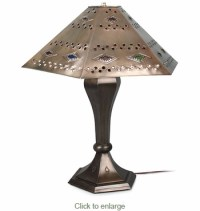 Mexican Table Lamp with Punched Hexagon Diamond Shade