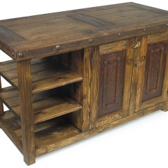 Oak Kitchen Islands Solid Wood Shaker Cabinets Rustic Old Island With Iron Accents
