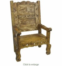 Rustic Painted Wood Throne Chair - Extra Large Mexican Chair
