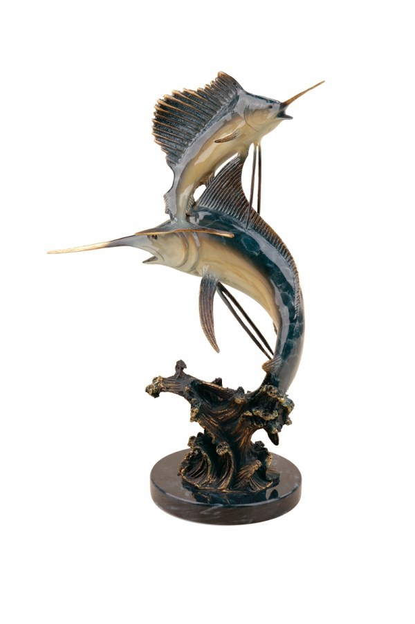 Florida Keys Double Marlin & Sailfish Sculpture Spi