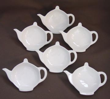 White Porcelain Teapot Shaped Tea Bag Holder Caddy (Set of 6)