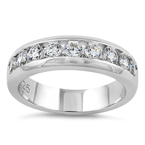 Sterling Silver Men39s Wedding Band CZ Rings