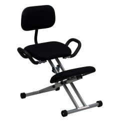 Ergonomic Chair Knee Rest Swivel In Spanish Kneeling Black Fabric With Back And Handles
