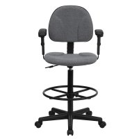 Ergonomic Home Gray Fabric Drafting Chair with Height ...