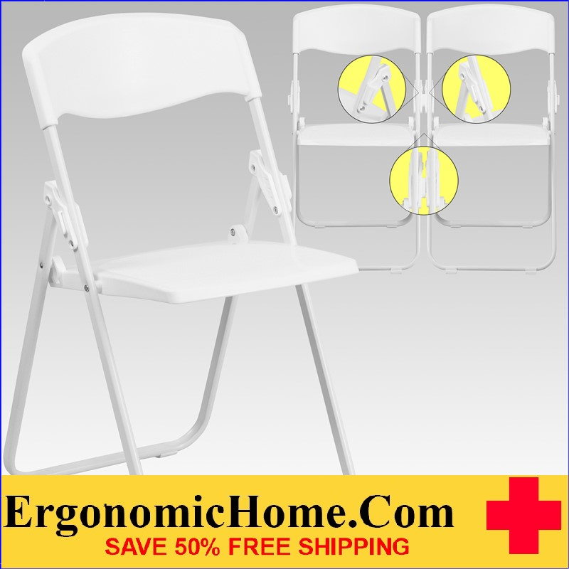 ergonomic folding chair wow fishing not working home series 880 lb capacity heavy duty white plastic with built
