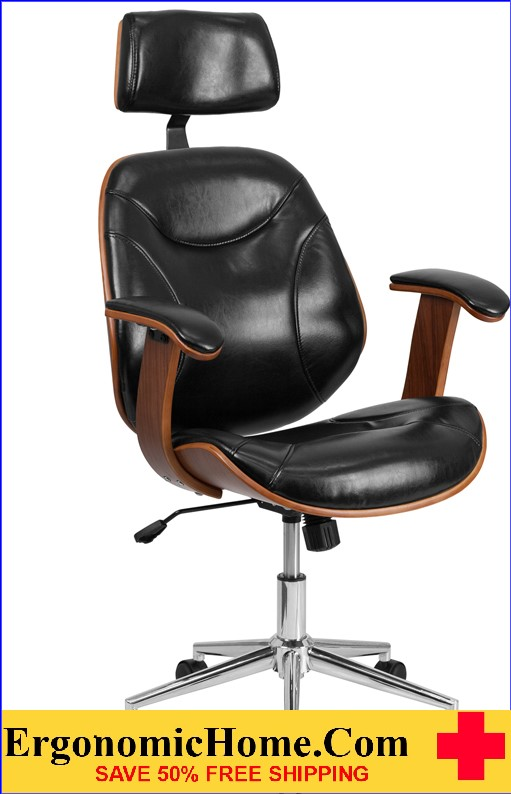 wood and leather office chair van captain chairs ergonomic home high back black executive swivel