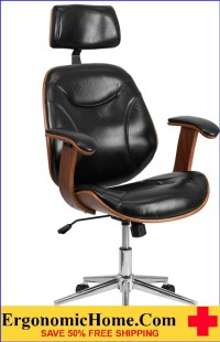 Ergonomic Home High Back Black Leather Executive Wood
