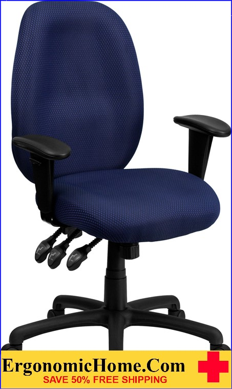 cloth office chairs herman miller desk ergonomic home high back navy fabric multi functional executive swivel chair with height