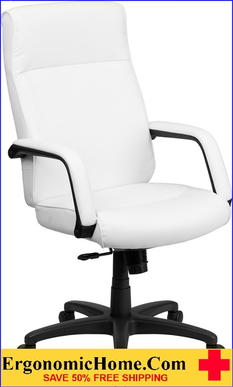 white leather swivel desk chair outdoor wood lounge plans ergonomic home high back executive office with memory foam padding b