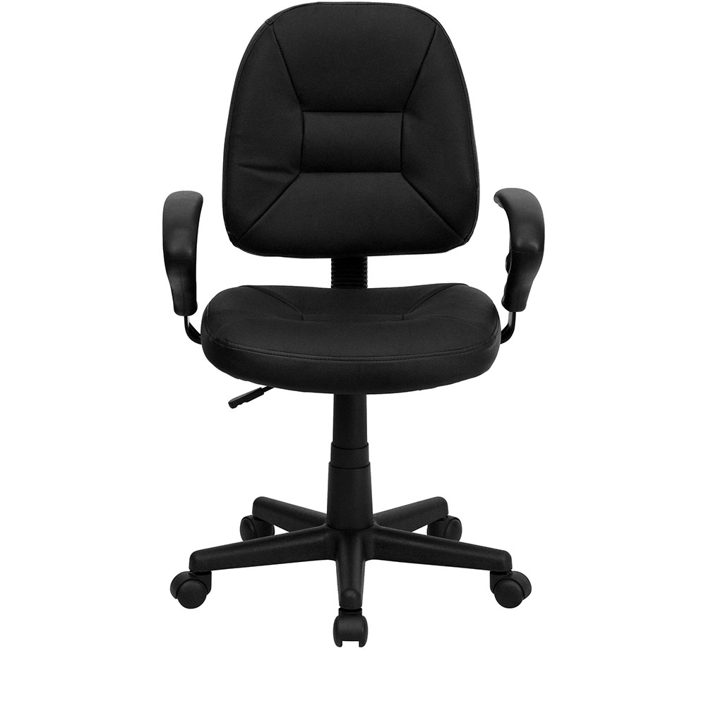 Ergonomic Home MidBack Black Leather Ergonomic Swivel
