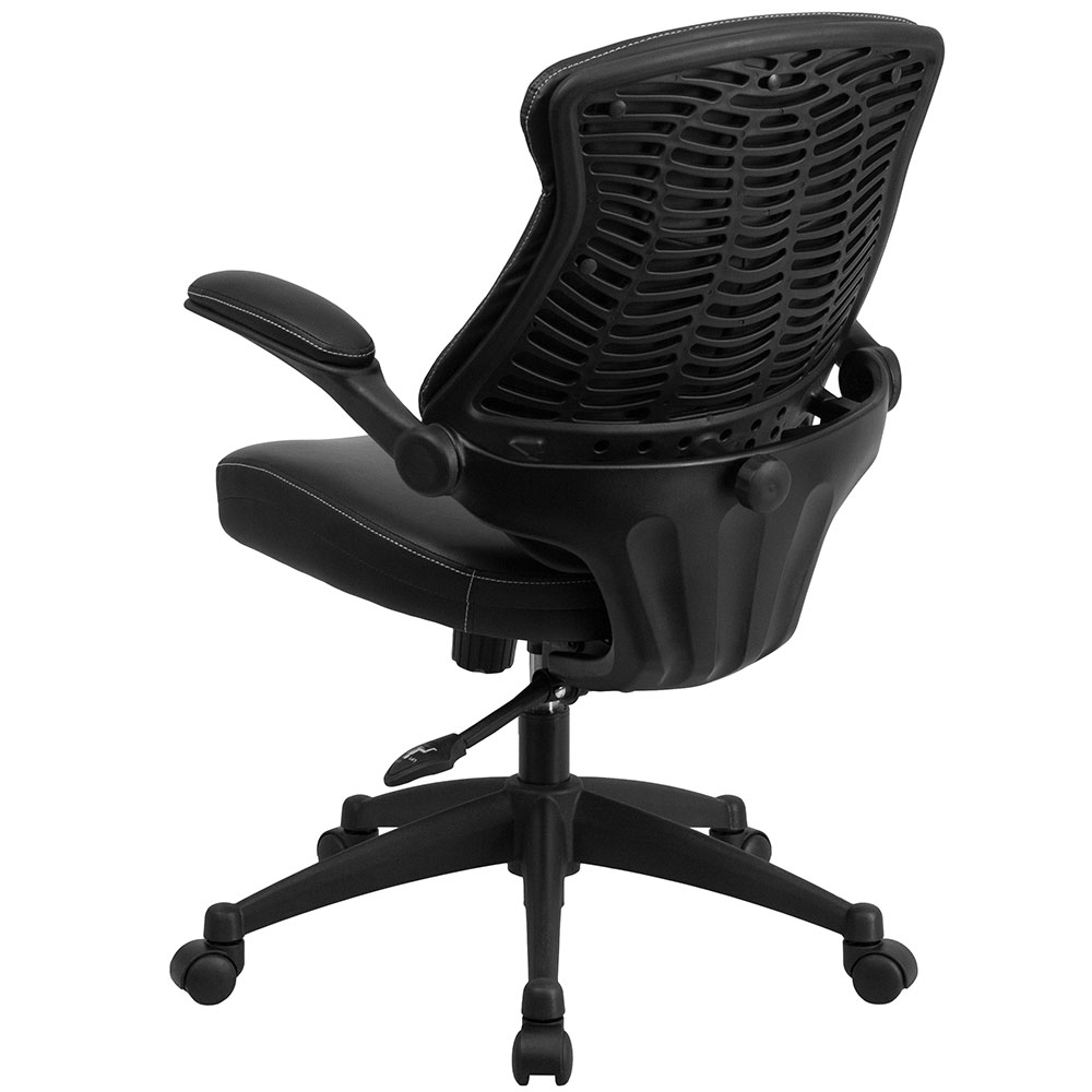 swivel chair executive power lift chairs reviews ergonomic home mid-back black leather office with back angle adjustment ...