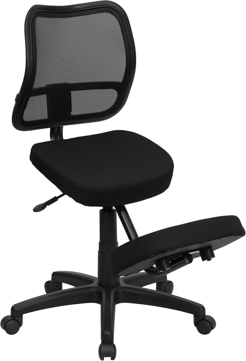 ergonomic posture kneeling chair table and rental chicago knee sit stand pregnancy black mesh padded swivel eh wl 3425 gg