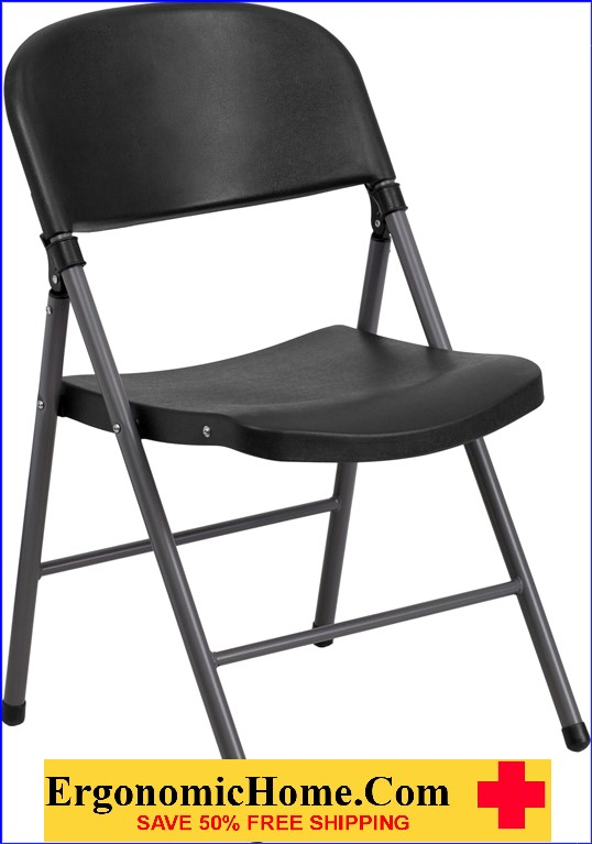ergonomic folding chair cushions with ties ireland home tough enough series 330 lb capacity black plastic charcoal frame