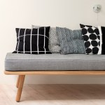 Marimekko Tiiliskivi Black White Large Throw Pillow Throw Pillows