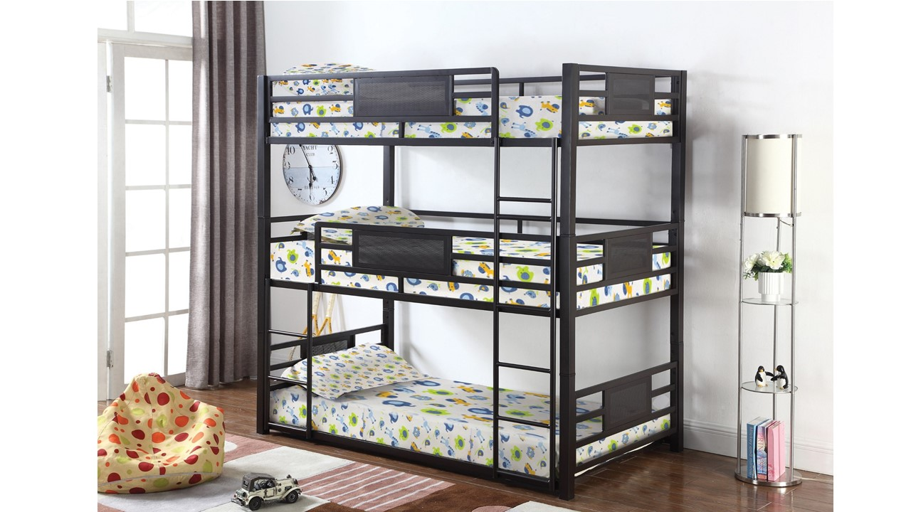 Modern Triple Full Size Three Tier Bunk Bed DC Kids