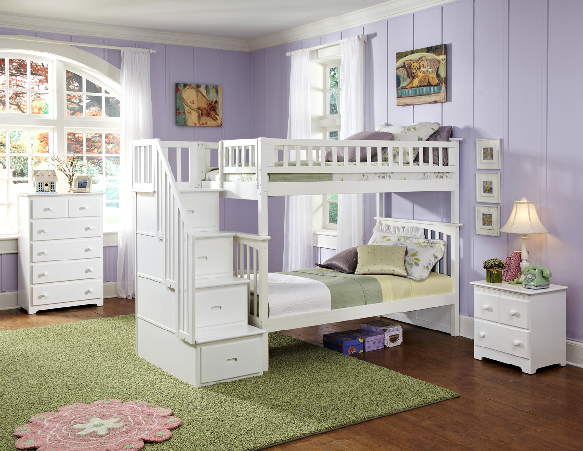 Modern Columbia Staircase Twin Twin White Bunk Bed Youth
