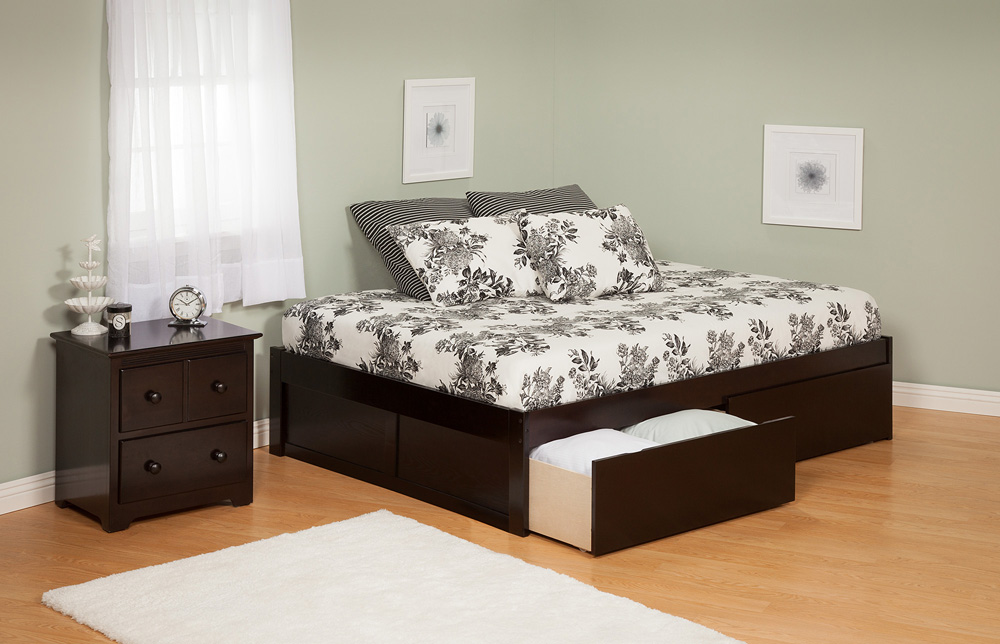 Contemporary Concord Queen Size Platform Bed Flat Panel With Drawers Atlantic
