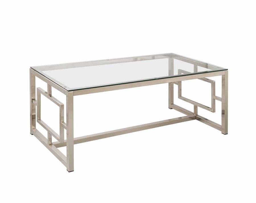 Modern Glass Metal Coffee Table Living Room Contemporary