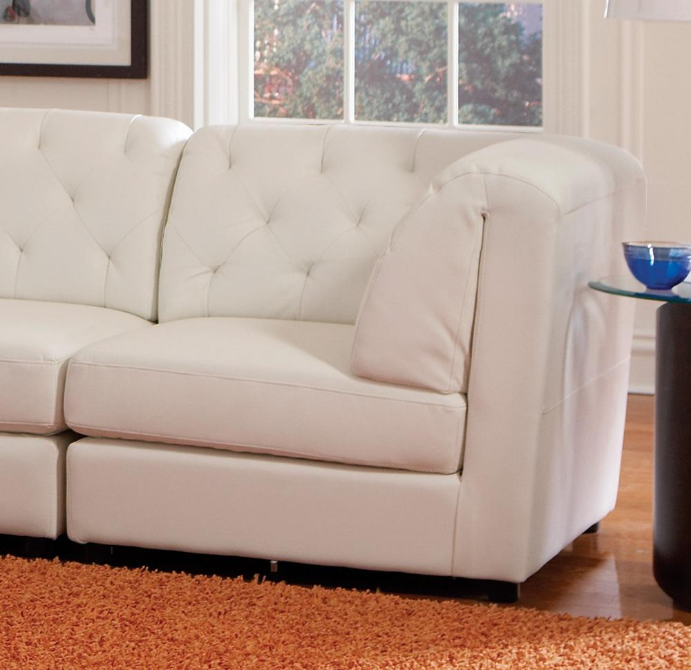Modern Leather Sectional Living Room Corner Armless Chair Ottoman VA Furniture Stores