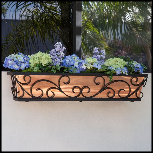 Large Regalia Decora Copper Flower Boxes - Hooks & Lattice