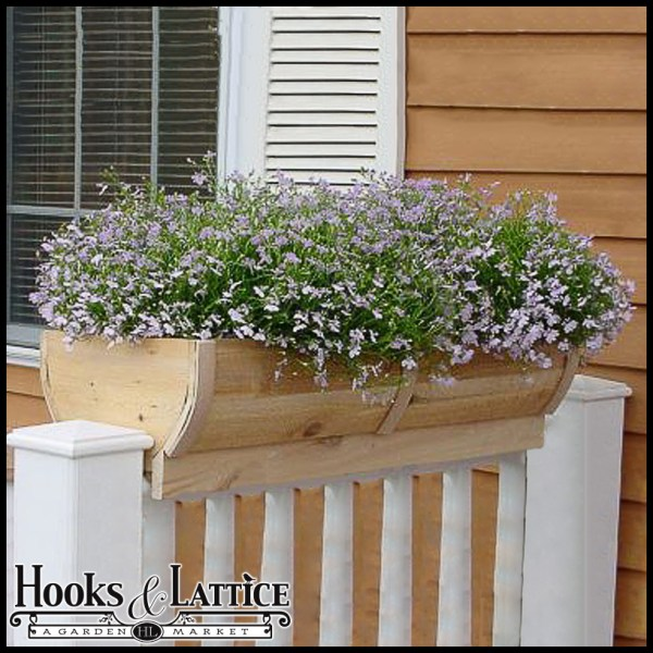 28in. Rounded Cedar Deck Rail Planter - Barrel Design