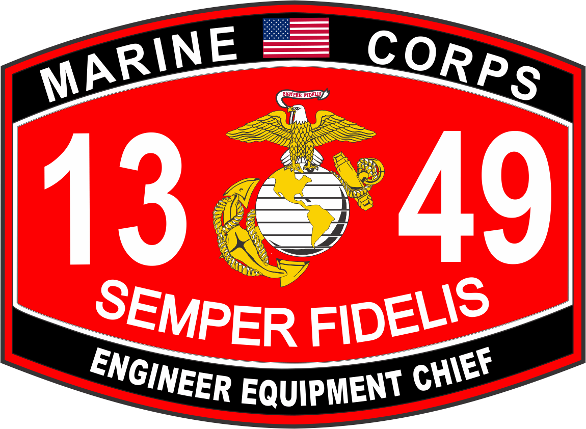 Engineer Equipment Chief Marine Corps MOS 1349 USMC Military Decal