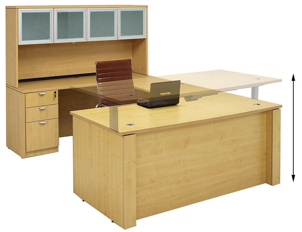 Adjustable Height UShaped Executive Office Desk wHutch