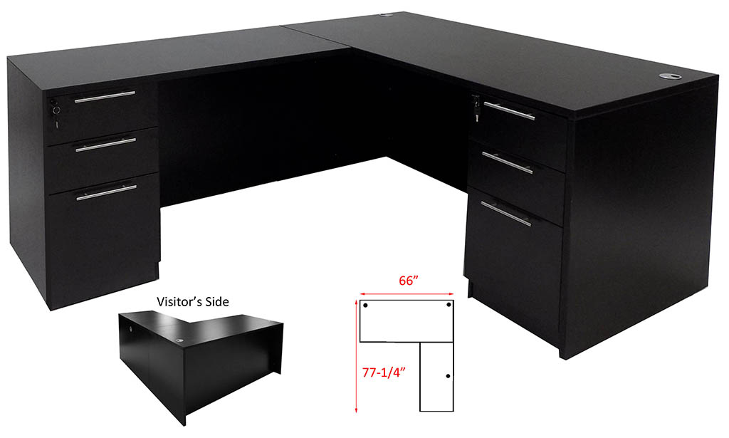 Black Conference UShaped Office Desk with Hutch