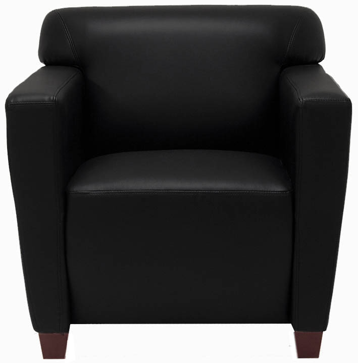 Black Leather Reception Seating  Club Chair