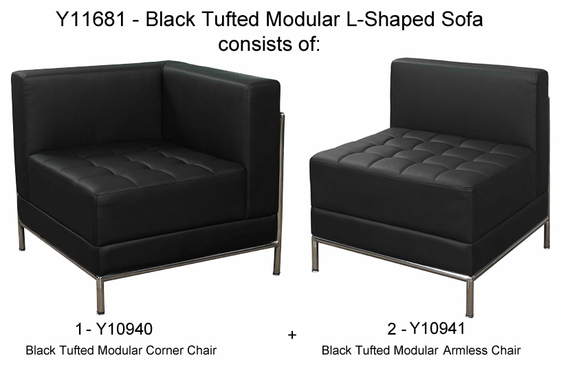 Black Tufted Modular LShaped Sofa