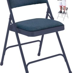 Blue Metal Folding Chairs Grey Dining Fabric Padded Steel Chair