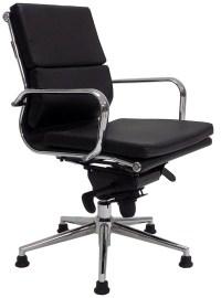 Leather Soft Pad Swivel Guest Chair on Glides - White ...