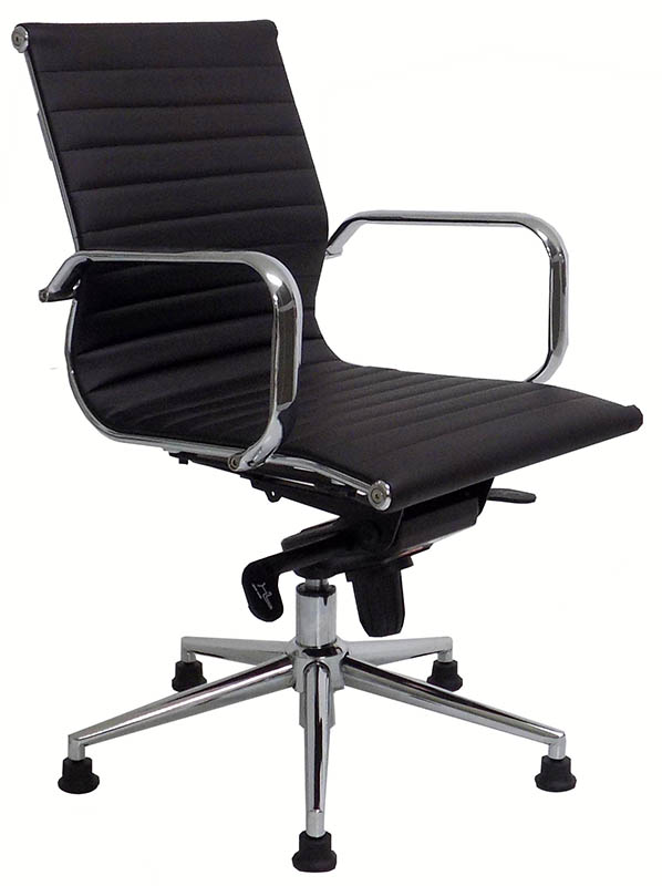 brown office guest chairs papasan chair stand modern classic leather swivel on glides black white red and