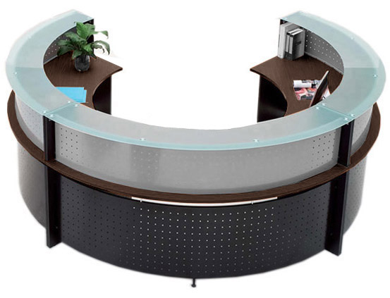 SemiCircular Glass Top Reception Desk