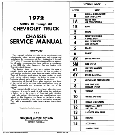 1972 Chevrolet 10-30 Series Truck Service Manual