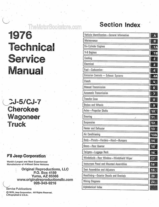 1976 Jeep Technical Service Manual, CJ-5, CJ-7, Cherokee