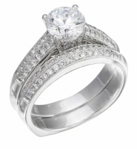 Wedding Ring Set, White Gold with Diamonds on Ring & Band