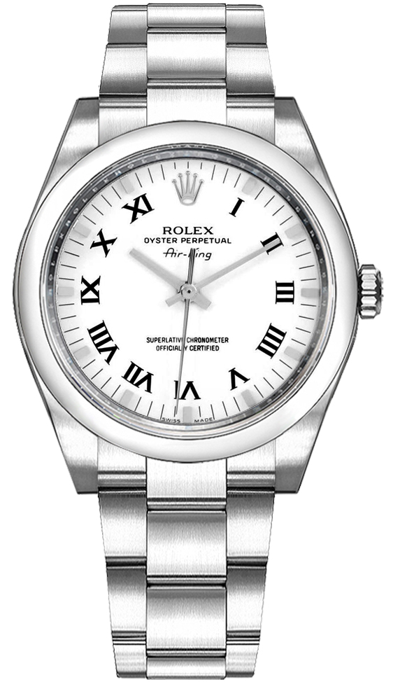 114200 Rolex Air-King White Dial Roman Numerals Automatic