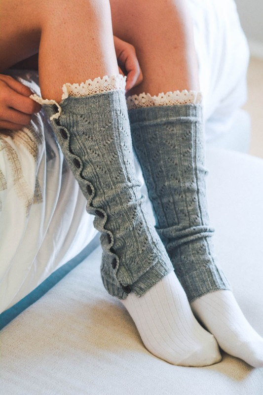 Button Down Knit Leg Warmers With Crochet Top