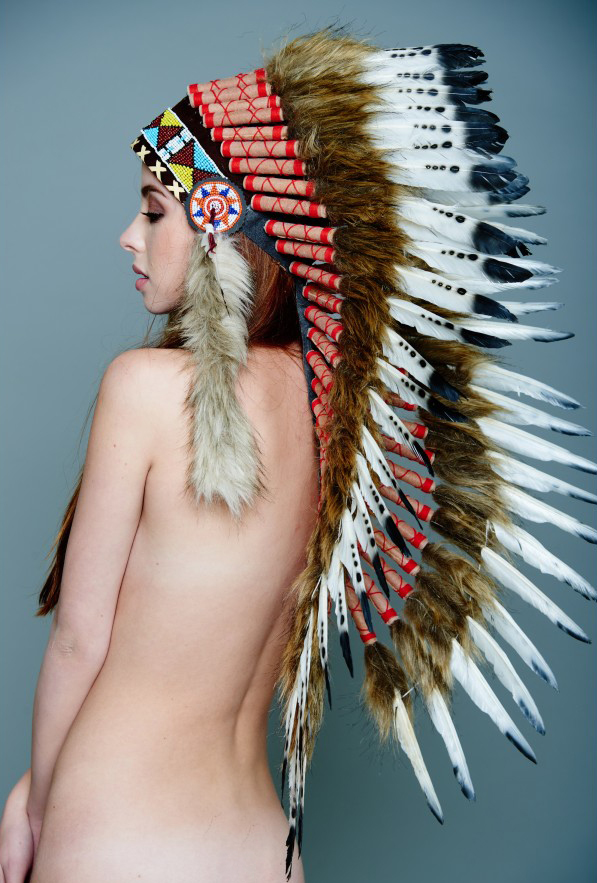 Indian Feather Head Dress in Brown and White