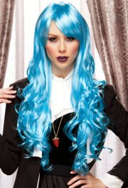 long blue anime wig with bouncy
