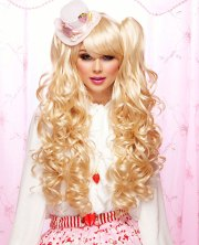long bouncy curl anime wig in apricot