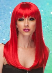 red long straight wig with bangs