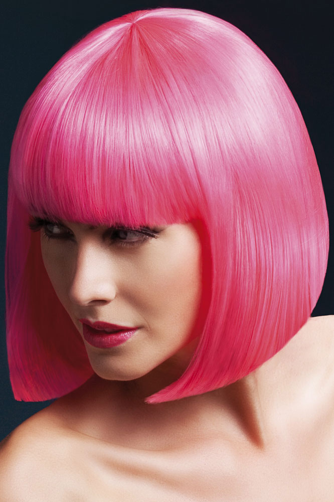 Sleek Bob Elise Wig With Fringe In Neon Pink
