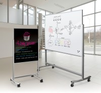 Glass Dry Erase Board On Wheels - Glass Designs